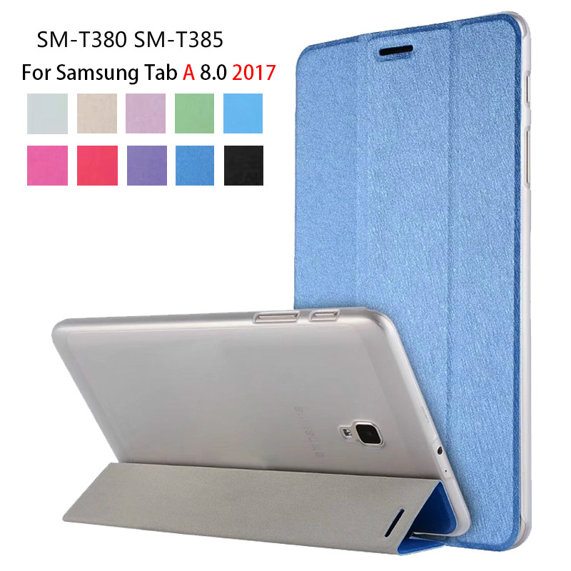 Case Cover For Samsung Galaxy Tab A 8.0 2017 SM-T380 T385 PU Slim Smart Stand Case For Galaxy Tab A 8.0 Tablet Funda