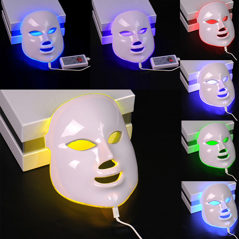7 Colors Beauty Therapy Photon LED Facial Mask Light Skin Care Rejuvenation Wrinkle Acne Removal Face Beauty Spa Instrument 30 7color led mask photon light skin rejuvenation therapy facial mask ice roller stainless steel blackhead needle bend curved