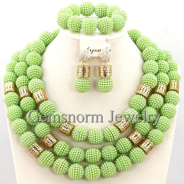 Lime Green African Wedding Beads Jewelry Set African Indian Beads Jewelry Sets Nigerian Wedding Jewelry Free Shipping WA029