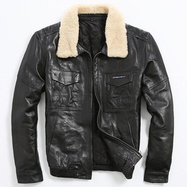 Aliexpress.com : Buy 2017 Mens Black Leather Pilot Jacket Wool ...