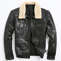 FREE SHIPPING 2017 New Mens Leather Pilot Jacket Wool Collar Business Casual Genuine Sheepskin Male Winter Warm Leather Coat