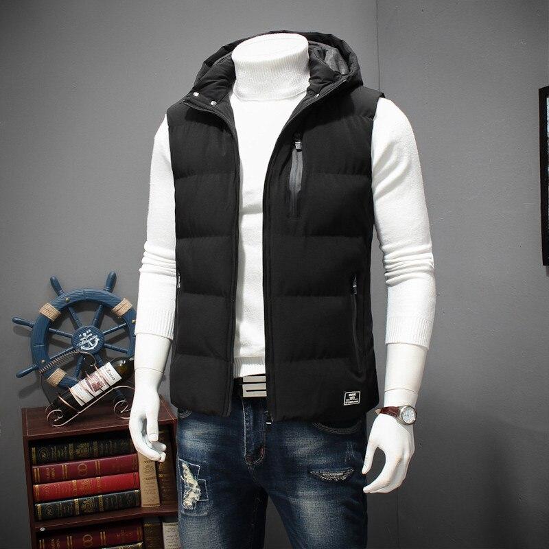 Grande taille 8XL 6XL 5XL 4XL 2018 nouveau élégant automne hiver gilet hommes de haute qualité capuche chaude sans manches veste gilet hommes - 4