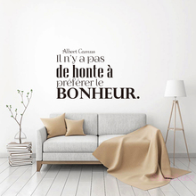 French Quote Mural decals No Shame to Prefer Happiness Wall Decor Camus Vinyl Sticker for Living Room Home Art Poster