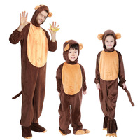 Free Shipping Coldker Family Monkey Costume Children Animal Onesies Jumpsuit Hood Shoe Covers Outfit Halloween Carnival
