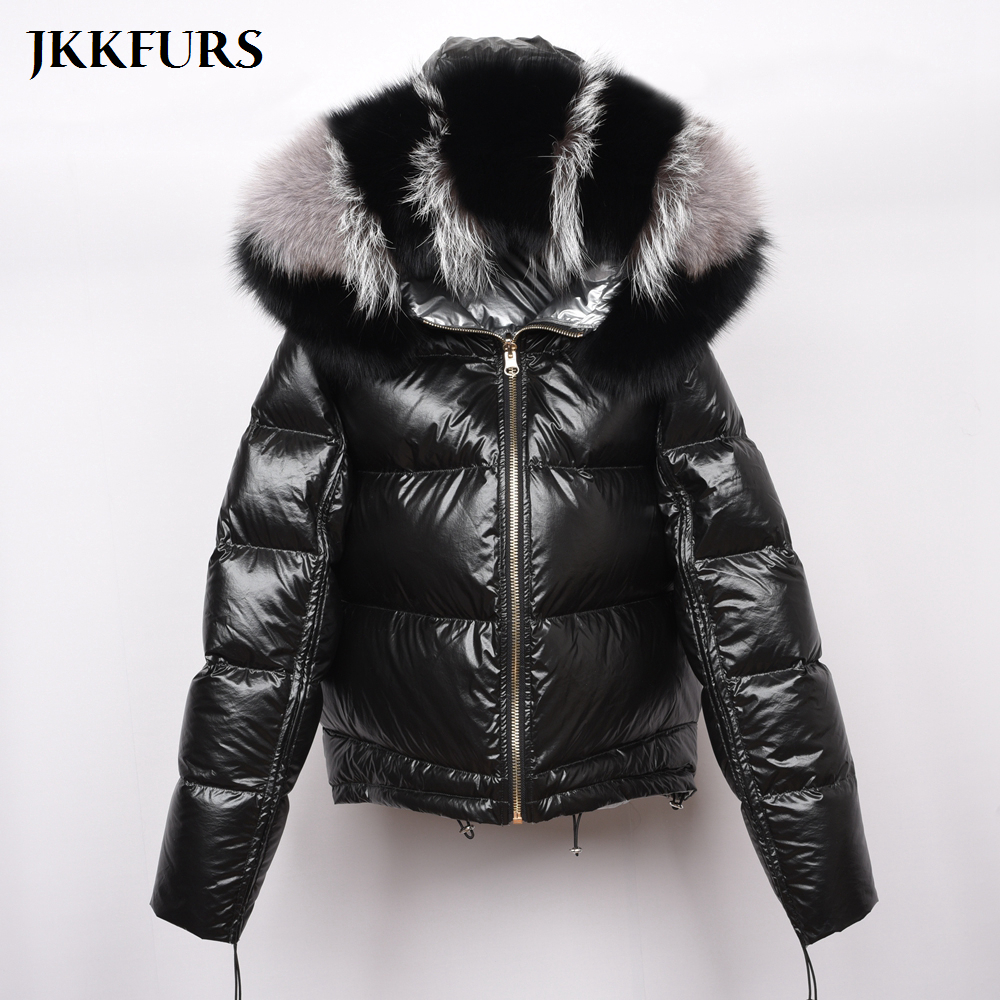 8864de6f5 New Women's Winter Jackets White Duck Down Coat Real Fox Fur Collar Double  Face Reversible Coat Top Quality Fashion Style S7482B