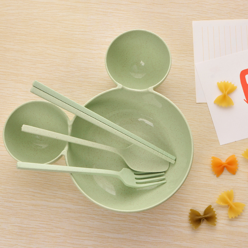 Купить с кэшбэком 4 Pcs Children Baby Bamboo Tableware Solid Feeding Mickey Dishes Baby Bowl Plate Food Feeding Dinnerware Set Plates for Children