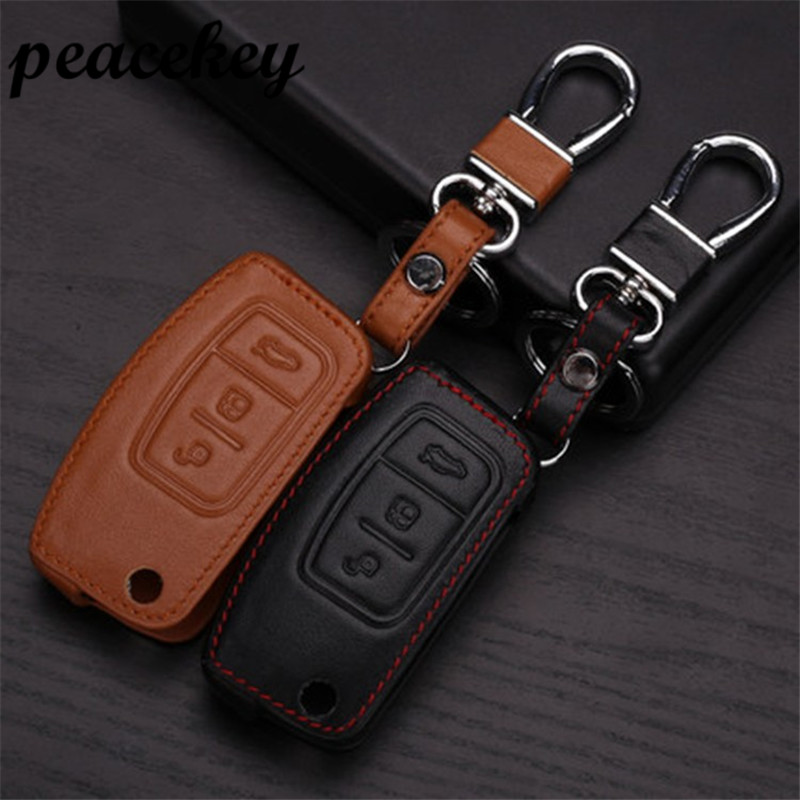 Peacekey Leather Car Key sticker Case For Ford Ecosport Mondeo 3 Accessories Focus 3 2 Kuga
