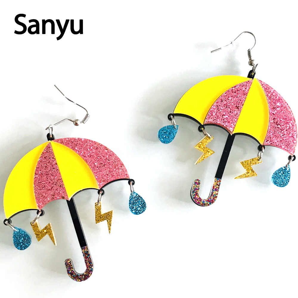 Lovely Colorful Umbrella Acrylic Drop Earrings for Female Creative Funny Cute Glitter Powder Lighting Raindrop Dangle Earrings