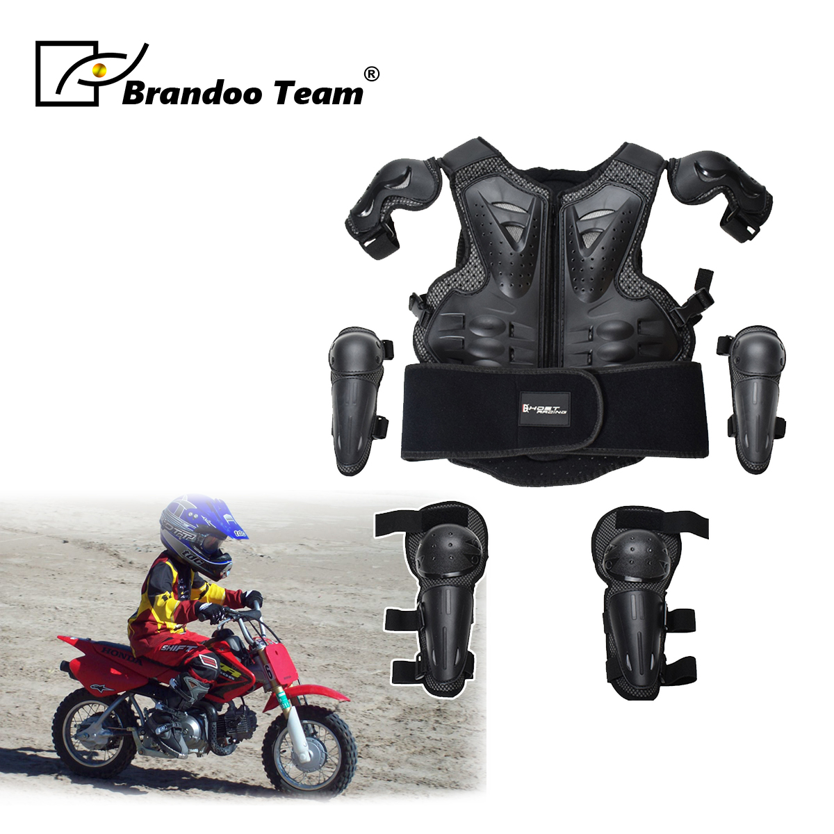 Kinder Full Body Protector Weste Rüstung Kinder Motocross Rüstung Jacke Brust Wirbelsäule Schutz Getriebe ellenbogen schulter Knie schutz