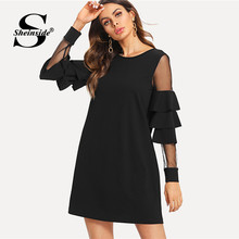 Sheinside Ruffle Long Sleeve Black A Line Work Dresses Ladies Contrast Mesh  Tiered Layer Straight Women Elegant Mini Dress 1fcfb3290182
