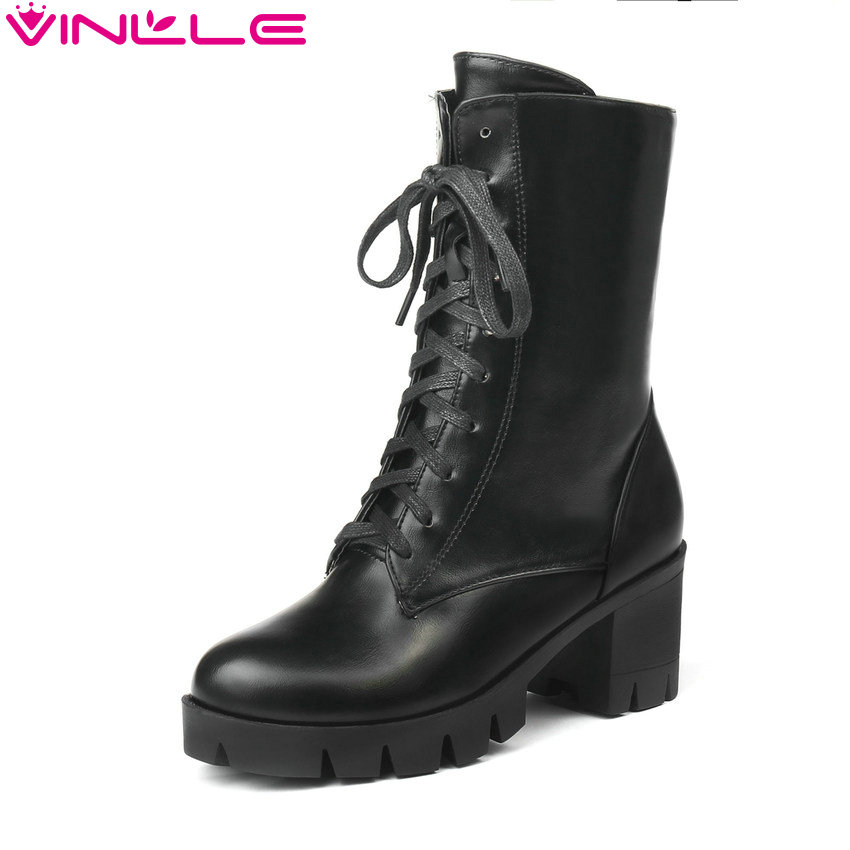 VINLLE 2019 Women Ankle Boots Shoes Winter Boots Fashion