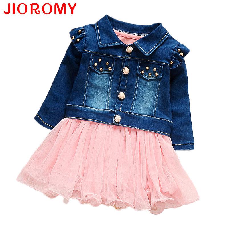 JIOROMY 2018 Girls Baby Dresses New Arrival Denim Jacket + Vest Dress 2 Pieces Fashion with Children's Clothes coat Boutique INS new arrival girls denim dresses 2017