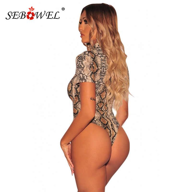 SEBOWEL/сексуальный облегающий боди с принтом змеиной кожи и зерна, Женская Клубная одежда, топы, комбинезон с коротким рукавом, женский комбинезон
