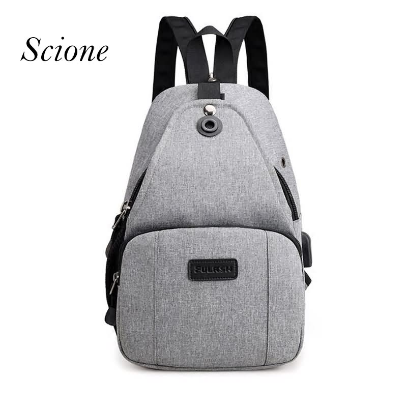 Scione Unisex Chest Bag USB Charging Bags Anti theft Backpack for Female Crossbody Bag Shoulder Bags Men Strap Daypack