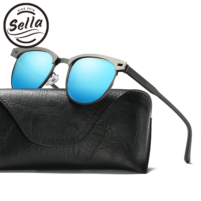 Sella New Fashion Men Polarized Sunglasses Metal Frame Colorful Women Square Sun Glasses Summer Driving Eyewear