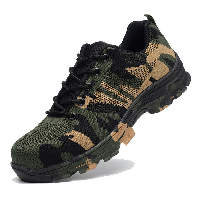 Construction Men's Outdoor Plus Size Steel Toe Cap Work Boots Shoes Men Camouflage Puncture Proof Safety Shoes Breathable 5