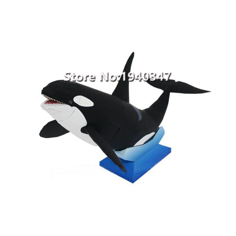 diy orcinus orca killer whale paper model puzzles toy for home