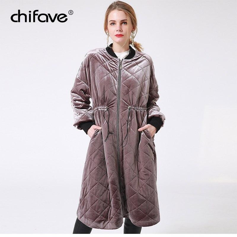 chifave 2018 Women Winter Warm Jacket Drawstring Waist Long Sleeve Velour Long Jacket Female A-Line Long   Parkas   Coats Plus Size
