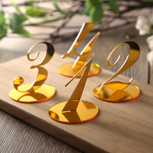 10pcs Wedding Table Numbers decoration for centerpieces Gold Mirror Acrylic Signs Reception number  decor Freestanding