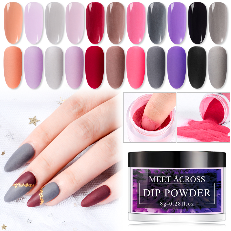 MEET ACROSS 8g Matte Color Dipping Nail Powder Colorful Nail Dipping System Powder Decoration Dip Powder Without Lamp-in Nail Glitter from Beauty & Health
