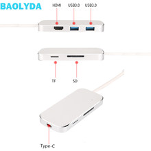 Baolyda USB C Hub Type-C HDMI Adapter USB C Converters USB 3.0 SD/TF Card Reader PD Charge for PC Notebook New Macbook Air Pro(China)