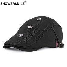 SHOWERSMILE Men Beret Hat 100% Cotton Embroidery Letter Flat Cap Male Vintage Breathable Summer Decoration Casual Duckbill Hat цена