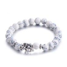 Классический Будда из натурального камня браслет для женщин Шикарный Серебряный слон бусины браслеты модные мужские ювелирные изделия
