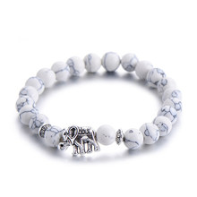 Classic Natural Stone Buddha Charm Bracelet For Women Chic Silver Color Elephant Beads Bracelets Fashion Men Jewelry(China)