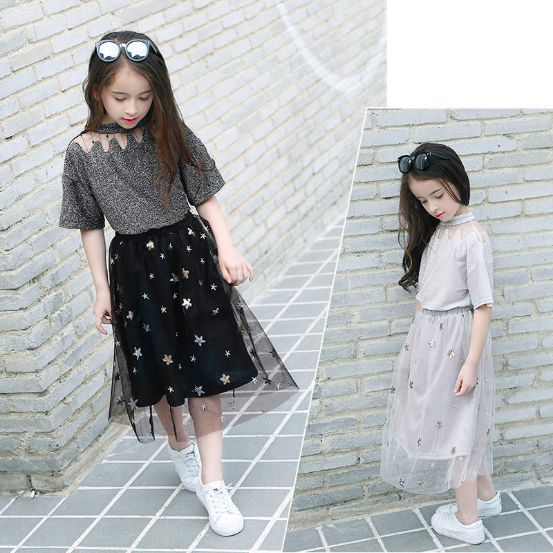 Teen Girls' Wear Short Sleeve T-Shirt+Net Yarn Skirt Two-piece Clothing Set Summer Suits Lace Tops Tutu Dress for Teens Outfits newborn toddler girls summer t shirt skirt clothing set kids baby girl denim tops shirt tutu skirts party 3pcs outfits set
