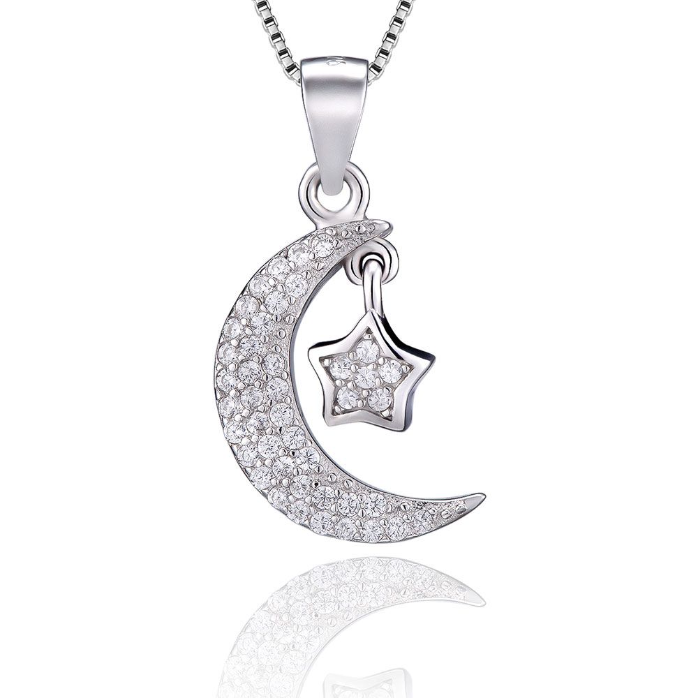 VOJEFEN Happiness Boutique Star and Moon Pendant Delicate Chain Necklace   925 Sterling Silver Necklace with Half Moon CharmVOJEFEN Happiness Boutique Star and Moon Pendant Delicate Chain Necklace   925 Sterling Silver Necklace with Half Moon Charm
