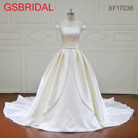 Sweet Pure Princess Boat Neck A Line Wedding Dress Sashes Bow Court Tail Draped Simple Design