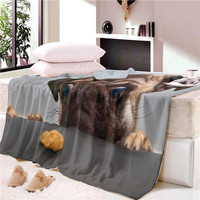 Husky Puppy Sherpa Blanket for Beds Watercolor Plush Throw Blanket Kids Cartoon Throw Bedding