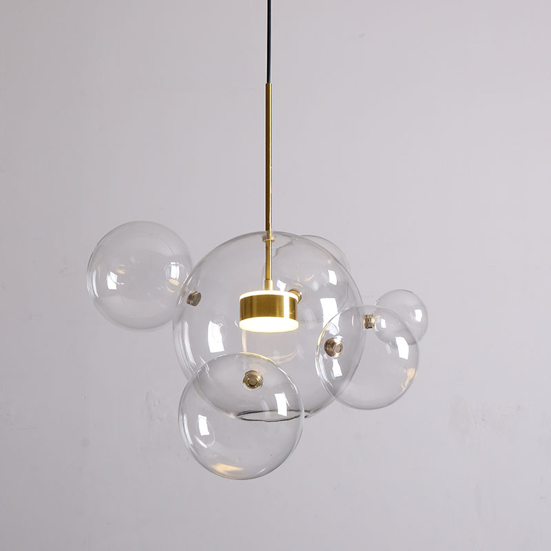 Nordic Design LED Chandelier <font><b>Lighting</b></font> Clear Glass Bubble/Globe/Sphere/Ceiling <font><b>Pendant</b></font> Lustre Chandelier LED Dining Drop Lamp image