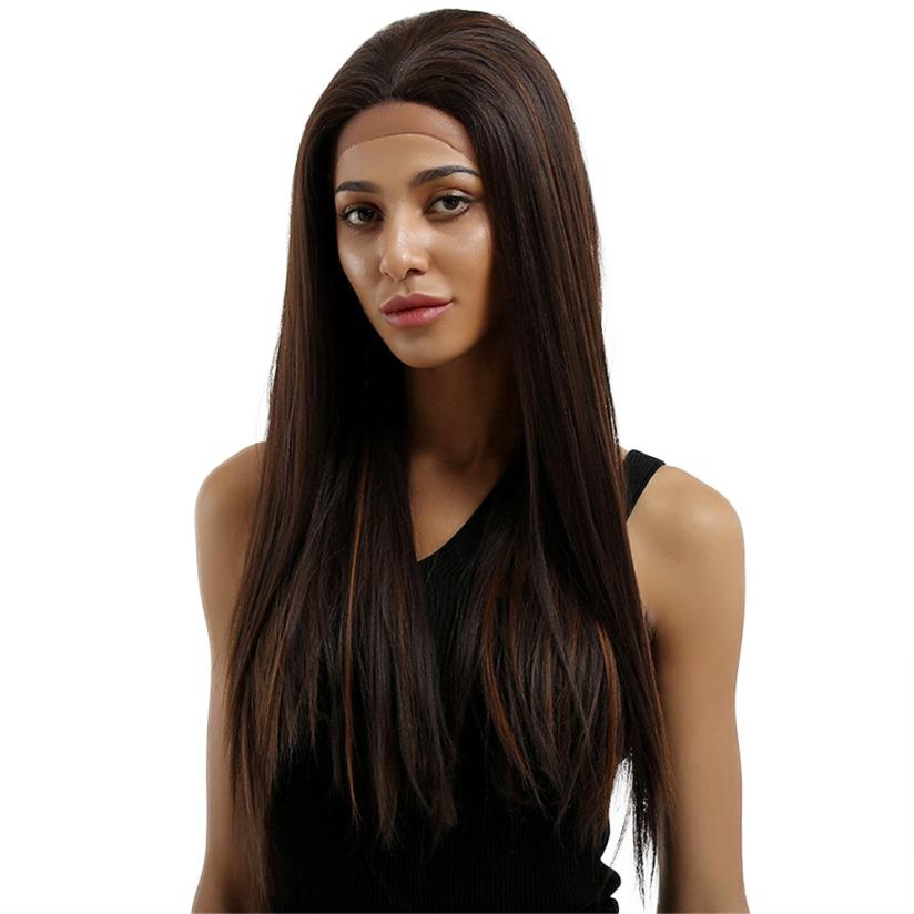 Womens Fashion Lace Front Women Brown Straight Hair Full Wig 0702
