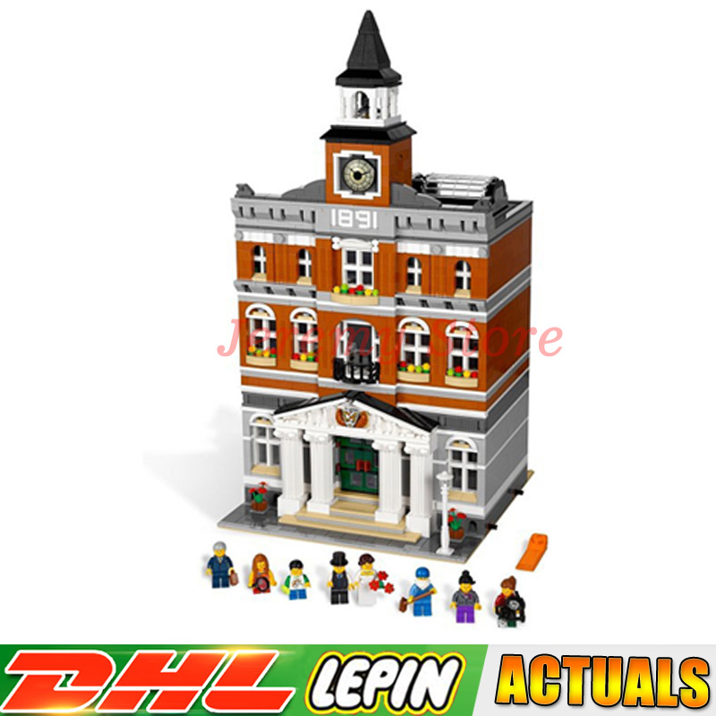 Free Shipping 15003 New 2859Pcs The Town Hall Model Building Kits Blocks Kid DIY Toys Gift LP Compatible LegoINGlys 10224 free dhl shipping lepin 15003 new 2859pcs creators the town hall model building kits blocks kid toy gift