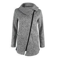Mujeres Abrigo de invierno y Abrigos Esquimales chaqueta de Cremallera Inclinada larga señoras chaqueta de solapas de color sólido de manga larga slim fit prendas de vestir exteriores