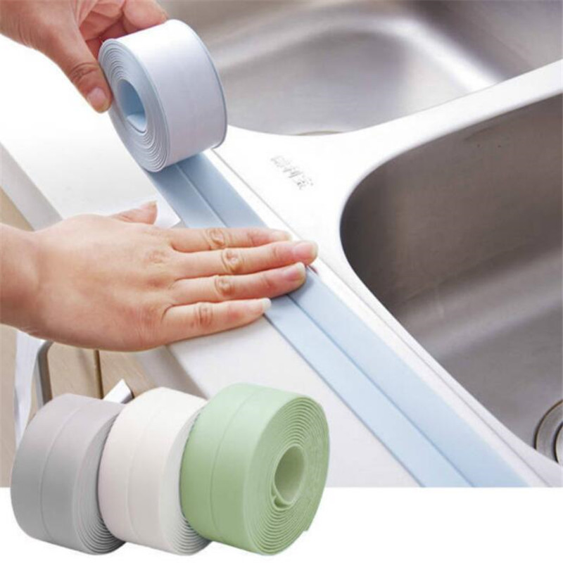 PVC Kitchen Bathroom Crevice Strip Wall Sealing Tape Waterproof Mold Proof Adhesive Tile Crack Repair Mildew Tape Sealant Tape