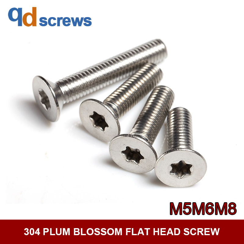 304 M5M6M8 plum blossom flat six-lobe head stainless steel screw GB2673 ISO 14581