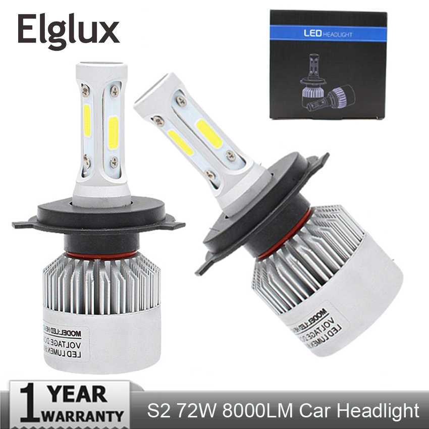 Elglux 2Pcs H4 LED H7 H11 H1 H3 9005 9006 Auto Car Headlight 72W 8000LM High Low Beam Light Automobiles Lamp white 6500K Bulb