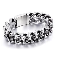 Biker Gothic Skull Men's Bracelet Curb Chain Stainless Steel Bracelets Heavy Vintage Jewelry Silver Black Polished