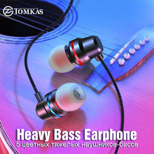 TOMKAS New Universal Headphones 3.5mm In Ear Stereo Earbuds For Xiaomi Sport Wired Earphone Mobile Phone fone de ouvido