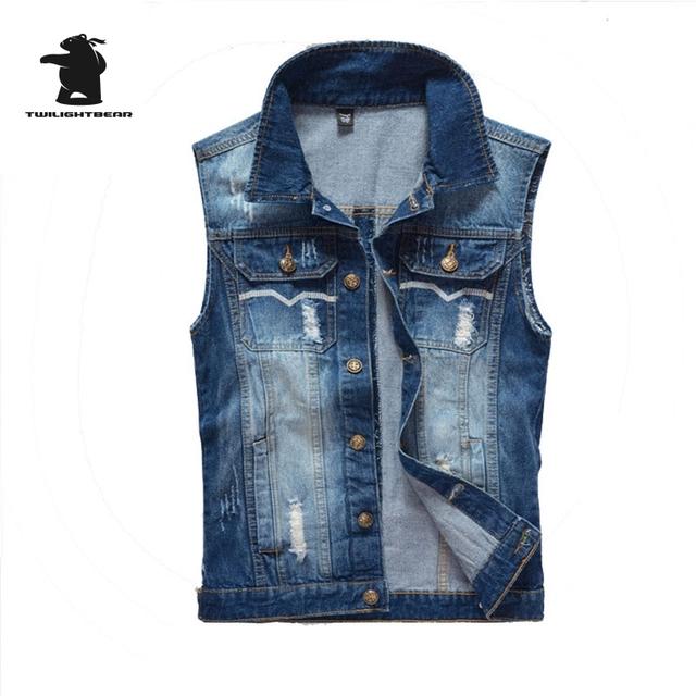 Nuevo diseñador de moda chaleco de mezclilla de los hombres retro vintage agujero de alta calidad más tamaño chaleco ocasional de los hombres m ~ 3xl cc4e2215
