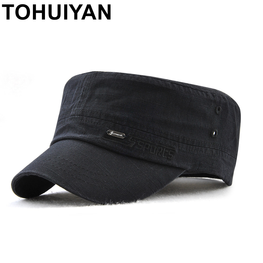 9f103febe8b TOHUIYAN Military Style Cadet Army Cap Men Women Pure Color Washed Cotton  Flat Top Cap Fall Winter Adjustable Chapeau Visor Hats-in Military Hats  from ...