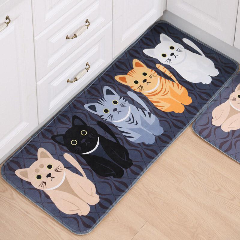 Cat Kitchen Floor Mat Anti Slip Tapete