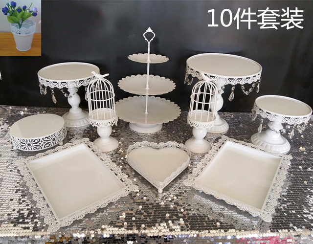 Aliexpress Buy 40pcsset Metal White Cake Stand Cupcake Pan Magnificent Tea Set Display Stand For Sale