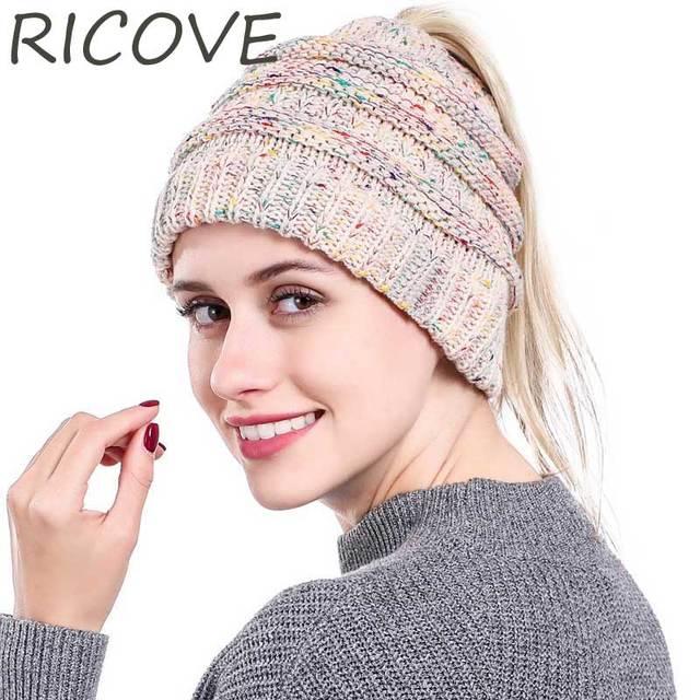 8fb553e38c1 Ponytail Beanie Hat Women Winter Cap Soft Knit Crochet Hats For Ladies  Casual Skullies Beanies Woolen