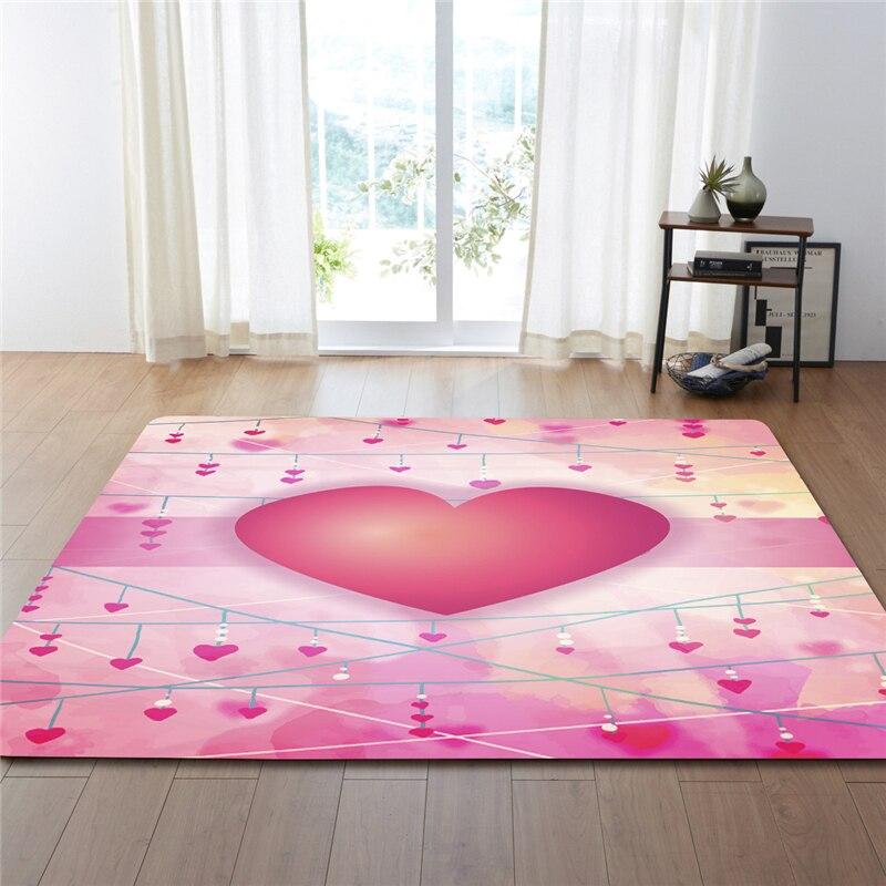 Doux coeur imprimé motif décoratif tapis anti-dérapant Polyester tissu lavable en Machine bureau chambre salon tapis