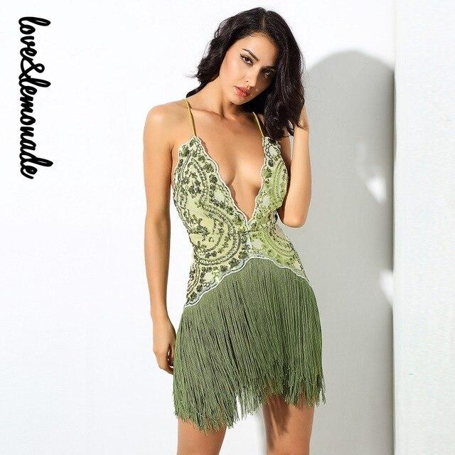 Love Lemonade Green Flower Vines Sequined V Collar Exposed Tassel Party  Dress LM0231 3d0df1dfabff
