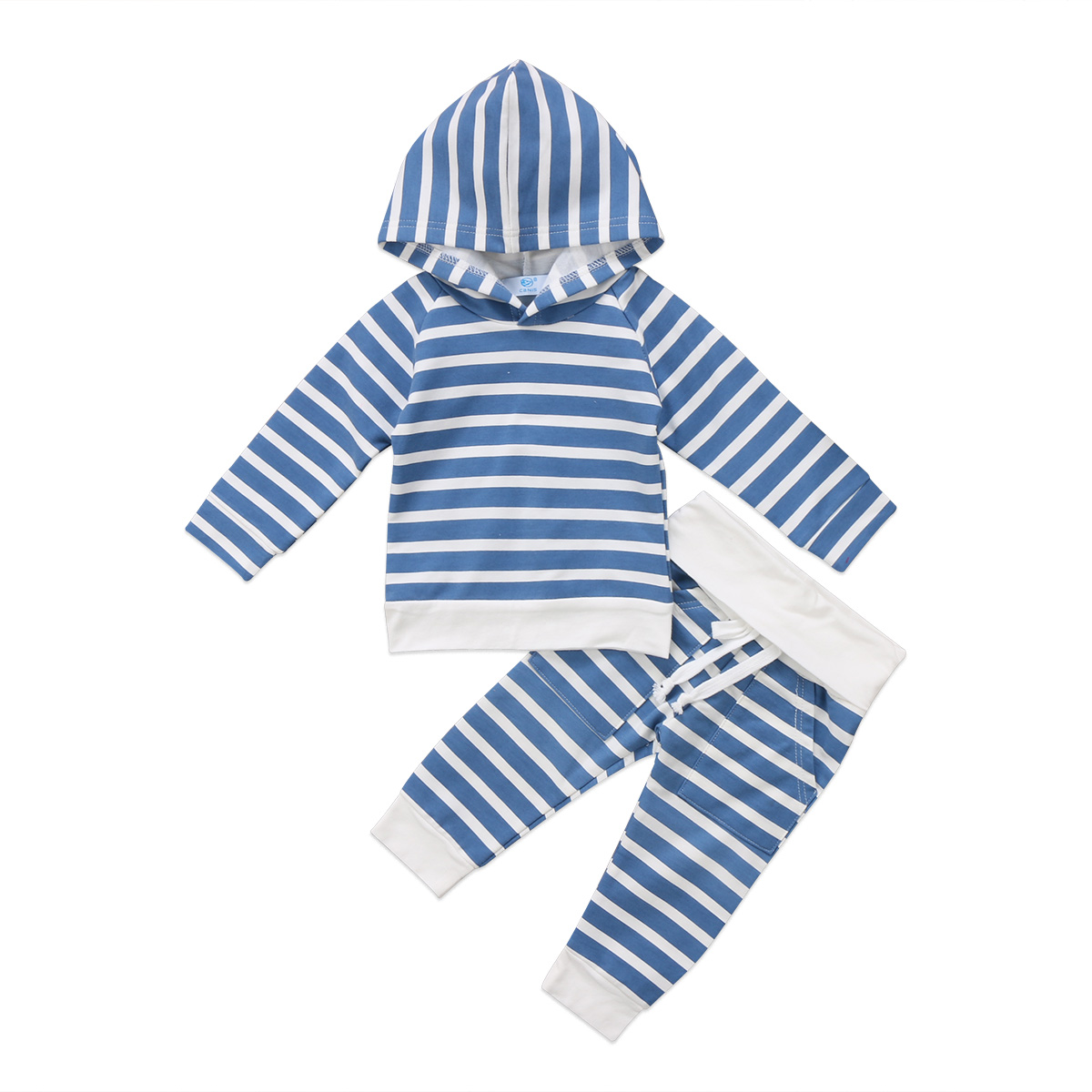 Infant Newborn Baby Boys Girls Casual Clothes Set Striped Long Sleeves Hooded Top+Long P ...