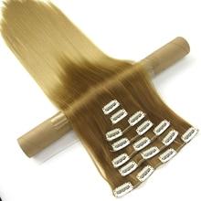 Soowee 24 inch 16 клипов Синтетические Волосы Прямо Серый Блондинка Ломбер Полный Начальник Зажим В Выдвижении Волос Cheveux Aplique Де Cabelo